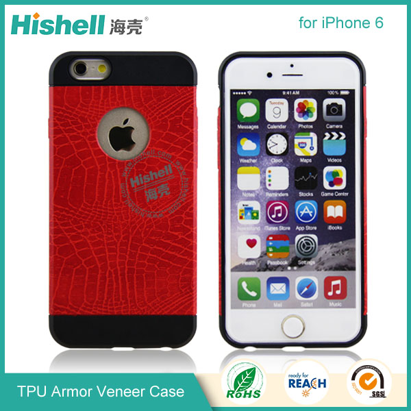 Hybrid Anti-shock Veneer Armor Protective Mobile Phone Cover for iPhone 6