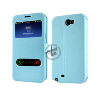 New Design Steel Wire Line Double Windows with PU leather Case for Samsung Note 2