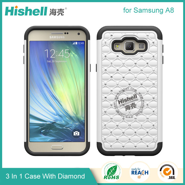3 in 1 Diamond Combo Flip Cover for Samsung A8