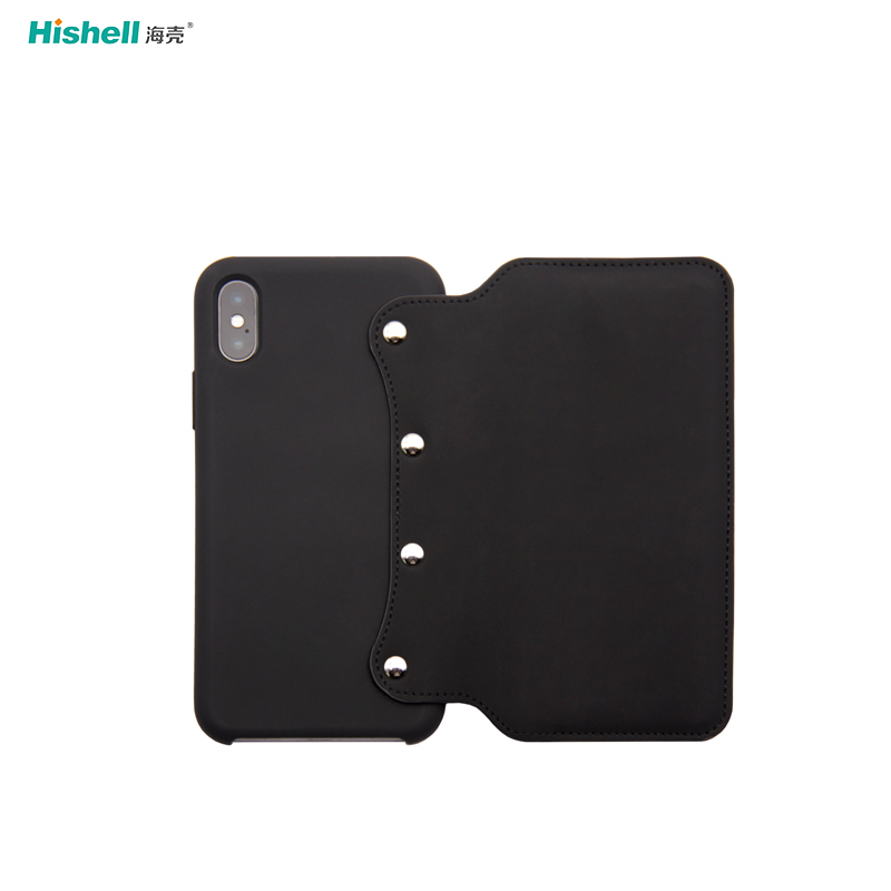Liquid Silicone Wallet Leather Mobile Phone Case With Rivet For Iphone XR