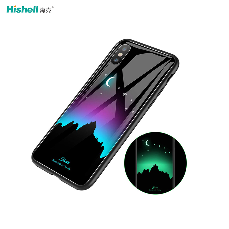 Mobile Phone Accessories Black Special Luminous Glass Phone Case for iPhone