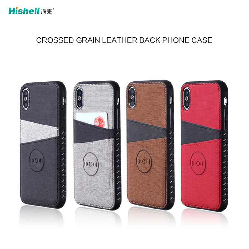 Custom Brand Hard Back PU Leather Card Holder Cover Phone Case For iPhone
