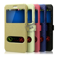 New Design Steel Wire Line Double Windows with PU leather Case for iPhone 6